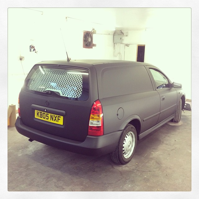 Van resprayed in matt black at the Paint Wagon