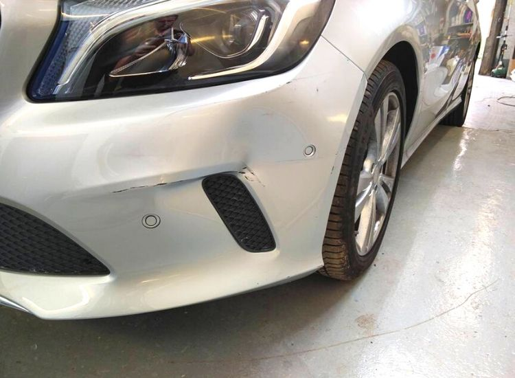 Mercedes A Class with bumper damage at the Paint Wagon