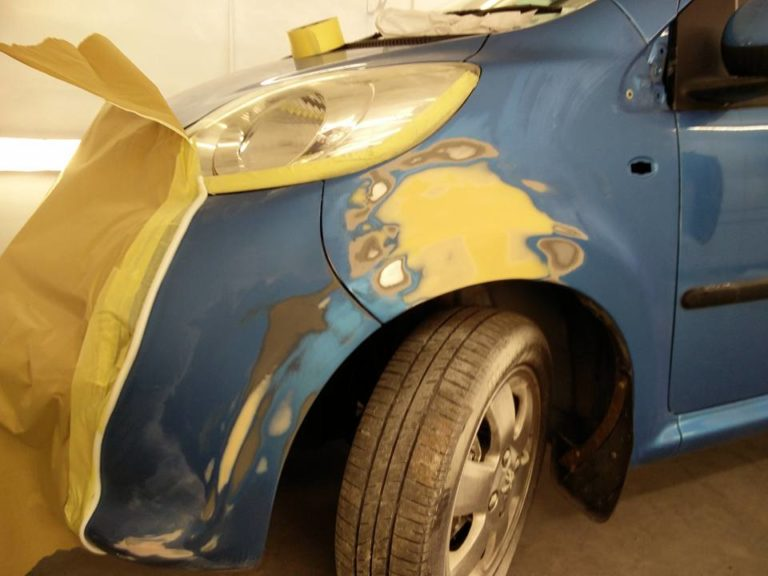 A car body repair in progress at the Paint Wagon Leicester